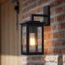 Traditional Black Light Sconces Iron and Glass 1 Light Wall Sconce Lighting for Outdoor