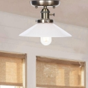 Vintage Flared Semi Flush Mount Metal 1 Head Semi Flush Mount Ceiling Lights for Bedroom
