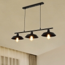 Vintage Linear Pendant Metal 3 Lights Island Lighting with Adjustable Cord in Black for Kitchen Island