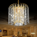 Crystal Beads Chain Pendant Light Fixtures Modern Metal Unique Hanging Lamps in Gold for Living Room