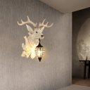 Countryside Deer Wall Light with Water Drop Shade 1 Light Decorative Wall Sconce in Black