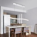 White Linear Chandelier with Wavy Design Contemporary Integrated Led Hanging Light