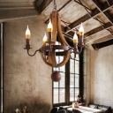 Wood and Metal Candle Pendant Light Rustic 5 Lights Chandelier Lighting in Rust Finish