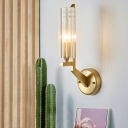 1 Light Wall Lighting Fixtures Modern Brass and Glass Unique Sconce Light Fixture for Indoor