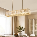 Brass Rectangular Hanging Lamp Transitional Crystal 3 Heads Island Lighting over Kitchen Island