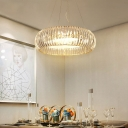 Contemporary Round Hanging Light Crystal and Glass 6 Heads Lighting Fixture for Living Room