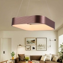 Copper Square Hanging Ceiling Light Metallic Led Modern Pendant Light with Diffuser