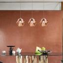 Geometric Ceiling Pendant with Handblown Glass Shade Single Light Modern Hanging Lamp