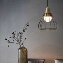 Metal Wire Frame Ceiling Pendant Mid Century Modern 1 Light Hanging Lamp in Brushed Brass