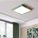 Nordic Style Squared Flush Mount Wood and Acrylic 1 Light Flush Mount Light in Pink/Yellow/Green for Bedroom, Warm/White/Third Gear
