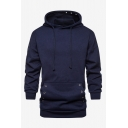 Men's Hot Fashion Simple Plain Long Sleeve Casual Relaxed Pullover Drawstring Hoodie Whit Pocket