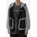 Mens New Fashion Letter STREET Printed Fake Pocket Long Sleeve Casual Zip Up Hoodie