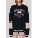 Trendy Letter BEECHWOOD Printed Colorblock Long Sleeve Round Neck Unisex Casual Pullover Sweatshirt