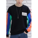 Hot Fashion Letter THIS IS MVSTVLE Printed Colorblock Patched Long Sleeve Round Neck Unisex Trendy Sweatshirt