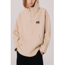 Cool Popular Letter ACE Printed Long Sleeve Loose Fit Half-Zip Unisex Casual Pullover Hoodie