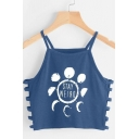 STAY WEIRD Letter Pattern Sex Cut Out Side Crop Cami