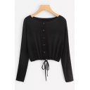 Hot Fashion Black Plain Drawstring Hem Button Down Long Sleeve Knitwear Cardigan
