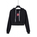 Hot Trendy Sun Embroidery Black Casual Cropped Hoodie