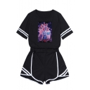 Trendy Figure Printed Short Sleeve T-Shirt with Shorts Two-Piece Set