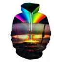 Unique Rainbow Explosive Cloud 3D Print Long Sleeve Casual Loose Drawstring Hoodie