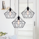 Modern Diamond Pendant Light Fixture Iron Single-Bulb Hanging Lamps with Wire Cage