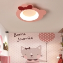 Pink Cartoon Cat Flush Mount Lamp Modern Metal Integrated Led Ceiling Light