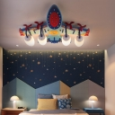 Led Airplane Flush Ceiling Light with 4 Opal Glass Shade Kids Flushmount Lighting