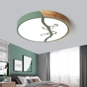 Drum Flushmount Lighting with Bird Pattern Nordic Style Metal and Wood Flush Light