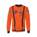 Cool 3D Buckle NASA Logo Printed Round Neck Long Sleeve Pullover Sweatshirt