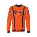 Cool 3D Buckle NASA Logo Printed Round Neck Long Sleeve Pullover Sweatshirt