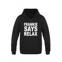 Funny Slogan Frankie Says Relax Letter Printed Long Sleeve Fitted Hoodie