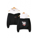 Money Heist Figure Printed Fashion Cold Shoulder Long Sleeve Pullover Hoodie
