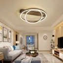 2/3/4 Rings Adjustable Ceiling Light Nordic Metal Flush Lighting in Brown for Sitting Room