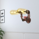 Water Pipe Lighting Fixture Industrial Vintage Iron 2 Heads Wall Mounted Lights for Foyer