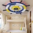 Multi Colored Flush Ceiling Lights Coastal Metal and Wood 1 Light Flush Mount Lighting for Bedroom