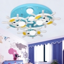 Anchor 7-Light Ceiling Lights Multi Colored Metal and Wood Ceiling Light Fixtures Kids Room Lighting
