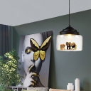 Modern Nordic Jar Hanging Ceiling Light Glass and Iron 1-Light Pendant Ceiling Lights