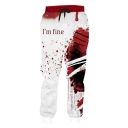 Popular Fashion Letter I'M FINE Blood Stain Print Drawstring Waist Red and White Polyester Jogger Sweatpants