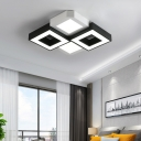 Combination Fixture Geometric Shade Indoor Ceiling Light Acrylic Modern Flush Mount in Black and White