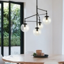 Clear Seedy Glass Globe Chandelier 4 Lights Modern Living Room Pendant Lamp in Black