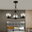 Spherical Chandelier Lighting with Clear Seedy Glass 3 Lights Industrial Pendant Lamp in Black