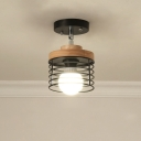Nordic Style Caged Lighting Fixture Iron 1 Light Semi Flush Ceiling Lights with Wood for Gallery Coffee Shop