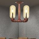 Steampunk Pipe Semi Flush Mount Lighting Iron 2 Bulbs Semi Flush Ceiling Lights for Foyer Corridor Hallway