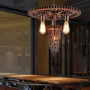 Exposed Bulb Hanging Pendant Lights Retro Style Metal 3 Heads Chain Hung Pendant for Living Room