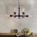 8-Light Open Bulb Hanging Chandelier Loft Industrial Steel Red Valve Hanging Ceiling Lights for Restaurant