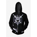 Black Sword Skull Printed Long Sleeve Zip Up Loose Relaxed Hoodie