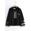 Cute Car And Floral Embroidered Drawstring Bow Tie Long Sleeve Hoodie