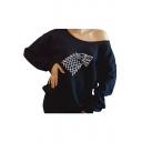 Chic One Shoulder Long Sleeves Printed Loose Black Pullover Sweatshirt