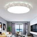 Matte White Donut Ceiling Mounted Light with Faceted Design Modernism Led Flush Mount