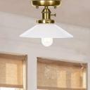 Olde Brass Flared Semi Flush Mount Light Aged Metal 1 Head Semi-Flush Light for Bathroom